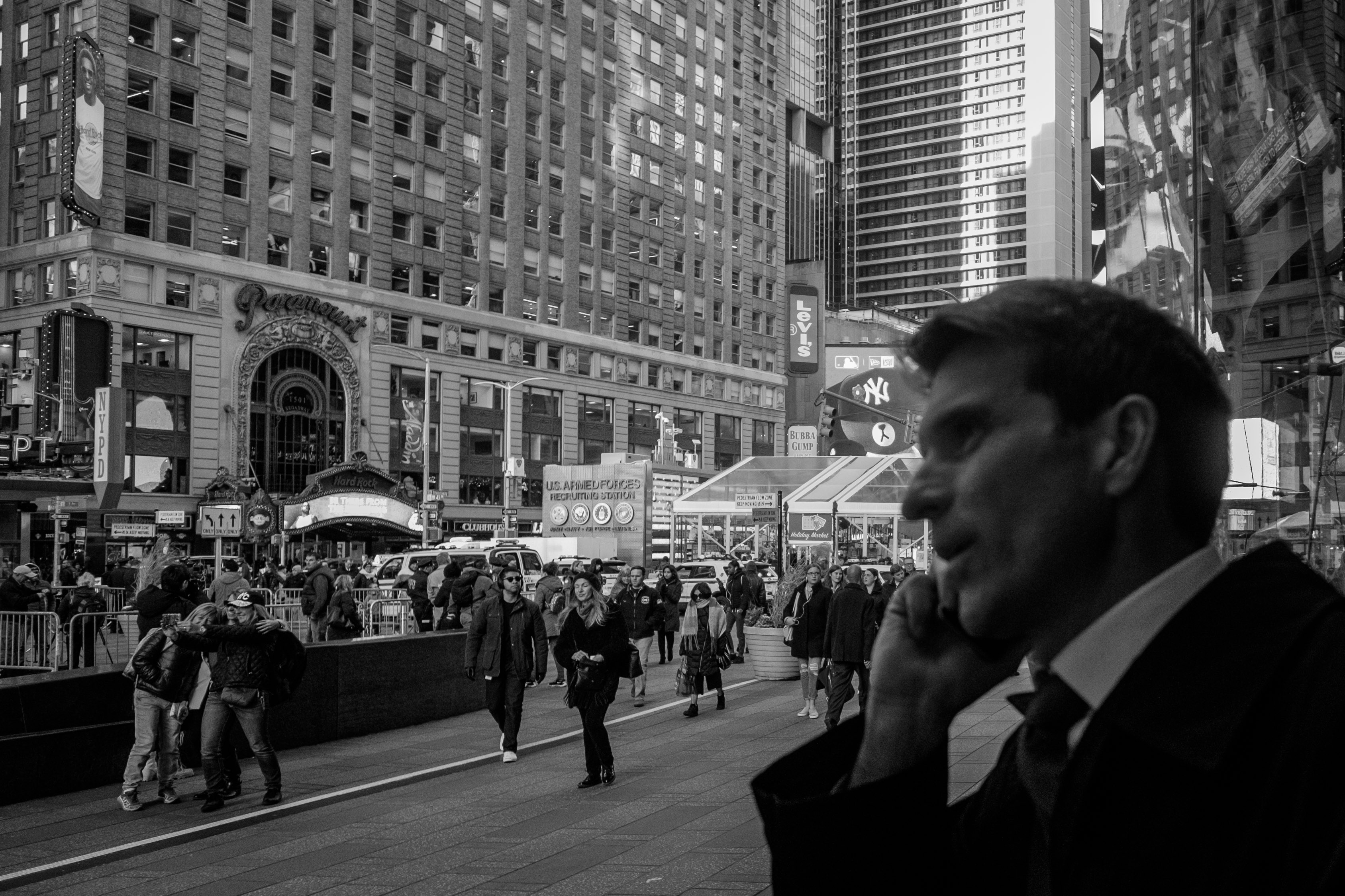 michael-in-times-square-black-and-white-photography