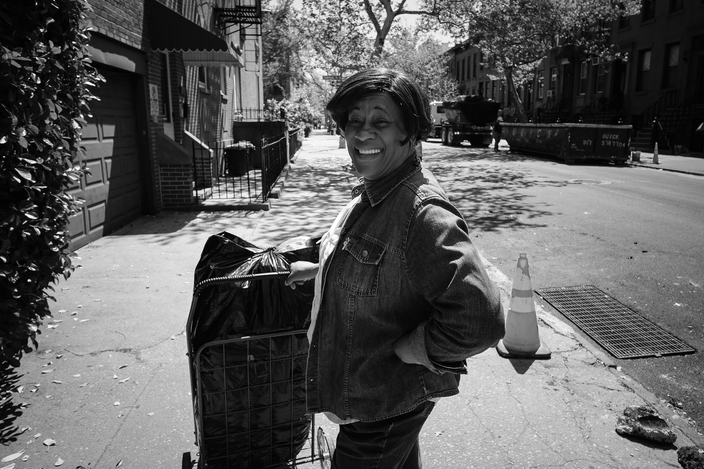 smiling-woman-on-the-street-carroll-gardens-brooklyn-zach-barocas-black-and-white-photography